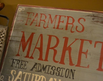 Vintage Farmers Market Sign/ Hand Painted Sign on Wood/ Primitive Farmhouse Decor/ Distressed