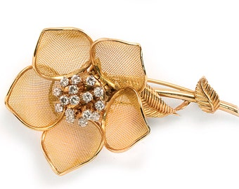 18k Vinatge Diamond Pin Brooch Flower 1.25ctw French Made Blooming Yellow Gold