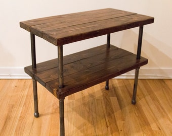 Reclaimed Wood and Gas Pipe Side Table, Console Table, or Bar with Shelf