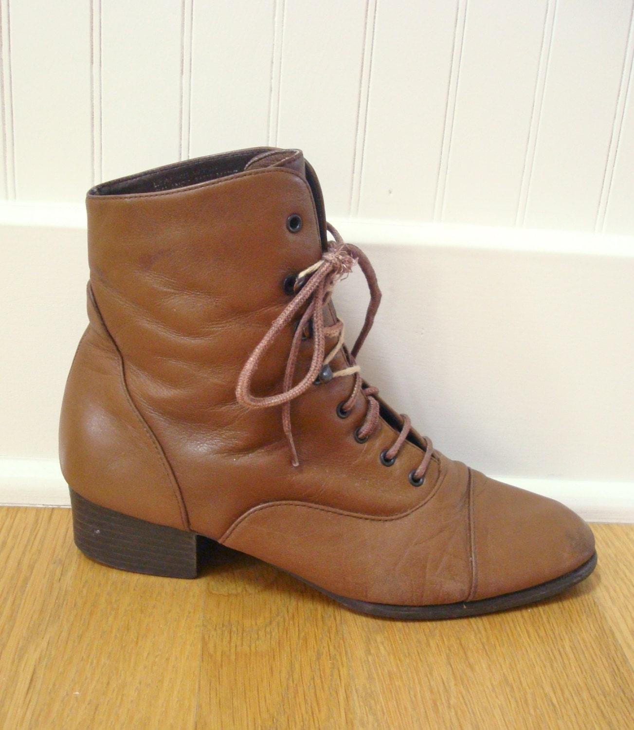 vintage leather boots brown ankle boots booties