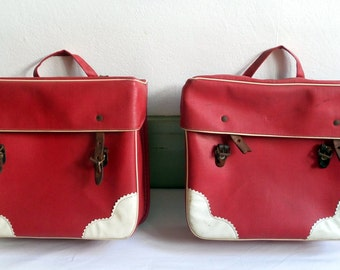 Pair of Red bags for bike / 1950-1960 / strips leather / bags of motorbike / bicycle / bags / bike pannier
