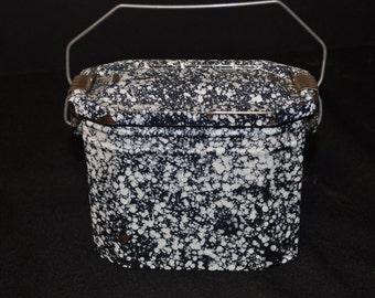 Vintage French Graniteware Enamelware Lunch Box