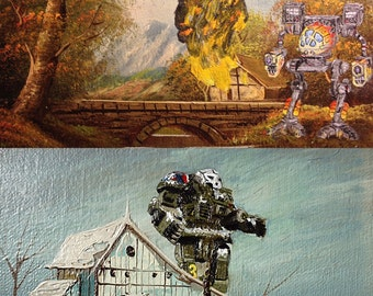 FREE SHIPPING. Set of Two Mech paintings. Mechassault parody art