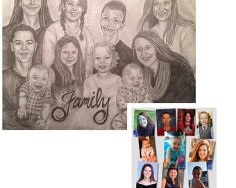 Custom pencil portrait, 5 or more subjects.  Perfect, unique gift idea for any occassion!