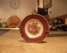SOLD ON EBAY Stunning Red Miniature Fragonard Plate, Limoges Porcelain, Tale of two lovers and hand stained decor, 24 Carat Gold Gild