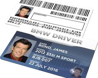 Custom Driving License Card - BMW Badge, Car Registration, Drivers Licence, Novelty Driver Series