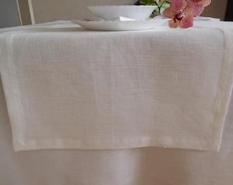 """Linen TABLE RUNNER White Table Decor 45 cm x 140 cm (18""""x 55"""")"""