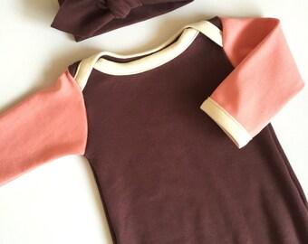 Organic Baby Set MAHOGANY baby girl sleeper, sleep sack, knotted sleeper, organic newborn gown, coming home outfit