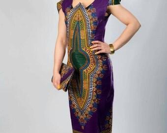 Pencil dress long wax purple dashiki