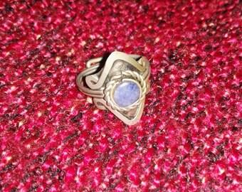 Silver lapis lazuli ring