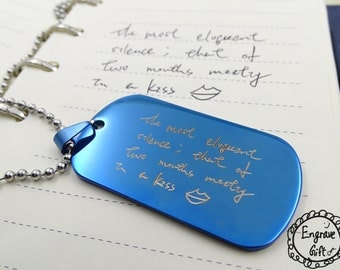Signature Dogtag Necklace - Personalized Memorial Dogtag - Keepsake Signature/Handwriting Pendant - Father Gift - UNISEX NECKLACE
