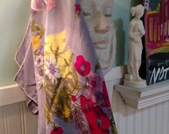 Vintage Tissue Silk Floral Scarf Rolled Hem