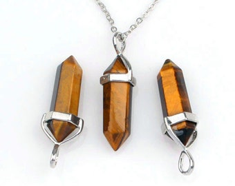 Polished Natural Tigereye Point Pendant, Crystal Quartz Druzy Pendant With Silver Plated Bail