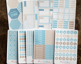 Amalfi Kit: Weekly Monthly Repositionable Planner Stickers A5 and Bound - inkWELL Press Neopolitan Caribbean Luckaty
