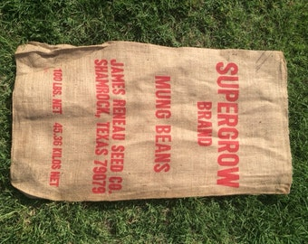 Vintage Burlap sack, SUPERGROW Mung Beans, Reneau Seed Co., sack, feed bag