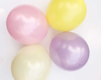 "Pastel pearl latex balloons - 11"" - Set of 8.  Pastel pink, lemon yellow, ivory, and lavender balloons.  Soft pastel balloon."