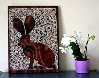 "Jack Rabbit String Art | 18""x12"" Rabbit String Art 