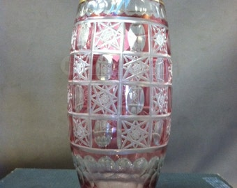 Bohemian Glass Cranberry Cut to Clear Vase
