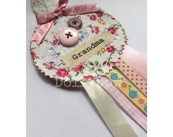 Mothers Day Rosette Shabby Chic Rosette Handmade Rosette Vintage Lace Rosette