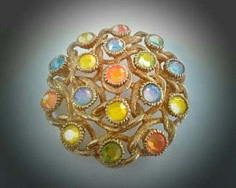 Sarah Coventry Moon Lites Brooch 1970s Vintage Style