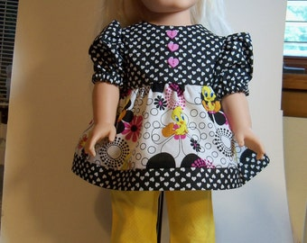 """Tweety  Bird Top and Ruffled Pants for 18"""" dolls"""