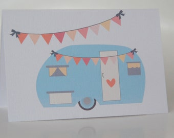 BIRTHDAY CARD GIRL --- Vintage Caravan --  Girls Greeting Card