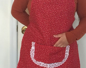 Red Floral Print Apron