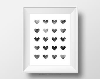 SALE -  Rustic Heart Pattern, Heart Shape, Black White Design, Modern Decoration, Contemporary, Baby Nursery, Wedding Love Print