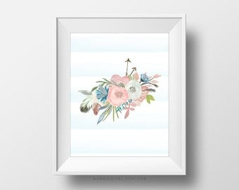 SALE -  Light Blue Stripes, Floral Decoration, Watercolor Illustration, Native Feathers, Nature Bouquet, Baby Nursery, Girls Room