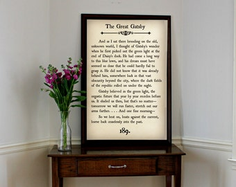GREAT GATSBY - Book Page Wall Art - Book Lovers Large Wall Poster- Great For Home Decor, Classroom, or Gift!