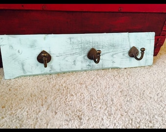 Reclaimed barn wood coat/jewelry hooks wall decor
