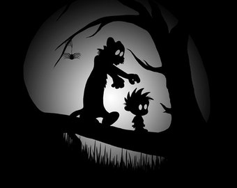 A Wrong Turn - Calvin and Hobbes meets Limbo - Limbo Art - Home Decor - Gaming Print Poster