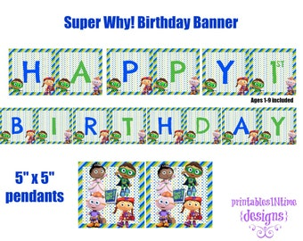 Super WHY Birthday Banner- Birthday Sign- INSTANT DOWNLOAD