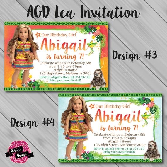 Lea Clark American Girl Doll Birthday Party Invitation