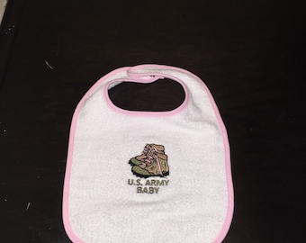 Army baby girl bib