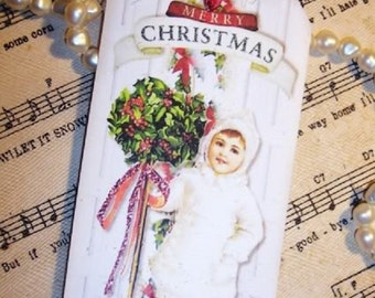 FOUR Shabby Chic Vintage Christmas Topiary Hang / Gift Tags