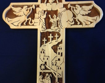 Ascension Bible Story Cross - Maple & Walnut