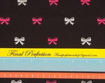 Hot Pink and Glitter Bows on Black Fabric- Fabric by the Yard