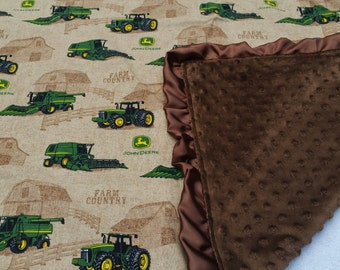 John Deere Minky Blanket; Satin trim; Brown John Deere