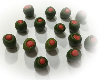 Olives- Green - Wax Fake Foods and Embeds / small / set of 15/geltyme