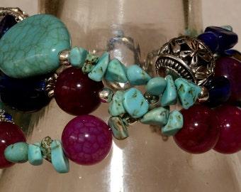Handmade Turquoise Beaded Bracelet w/ Gemstones