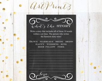 What's the Story Bridal Shower Game Printable, Write a Funny Story Game, Chalkboard Bridal Shower Game Printable,Make a Story Bridal Game