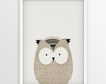 Owl Nursery Decor, Owl Bird Print, Illustration, Sketch, Wildlife, Doodle, Kids Decoration, Little Wisdom, Forest, Woodland Nursery Print