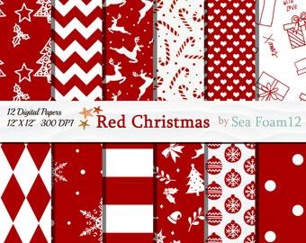 Red and White Christmas, Christmas Digital Papers, Red Christmas Craft, Christmas Snowflakes, Christmas Tree Ornaments, Christmas Deer, Gift