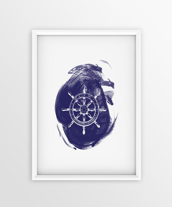Ship wheel print nautical home decor navy blue wall art for Ship decor home