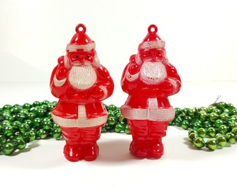Vintage 1950's Hard Plastic Santa Ornaments Christmas Tree Decorations. Vintage Christmas Decorations.