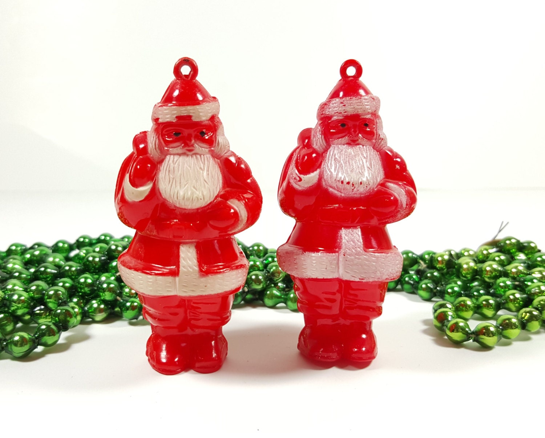Vintage hard plastic santa ornaments christmas tree