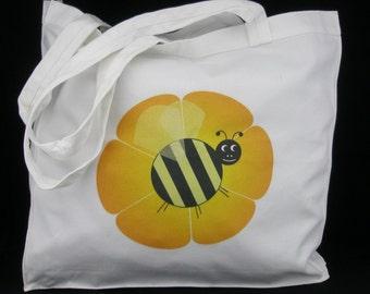 SALE !!! - Tote Bag, Kids Library Bag, Shopping Bag - Bunble Bee