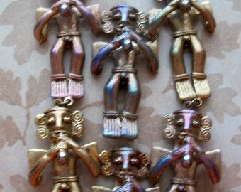 Vintage Statement Bib Necklace,Craft,Repair,Warrior,Fertility,Tribal,Naked,Penis,Aztec,Character,Man,figural,large