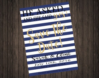 Navy and Gold Save the Date PRINTABLE DIY